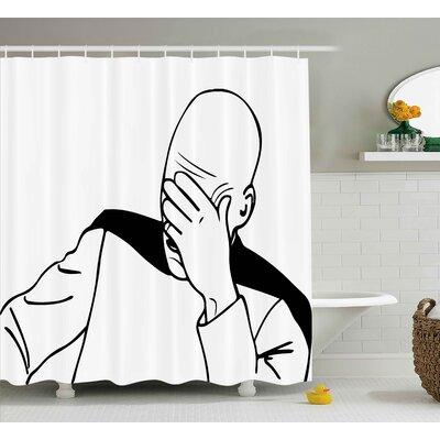 Face Palm Decor Shower Curtain Size: 69 H x 75 W
