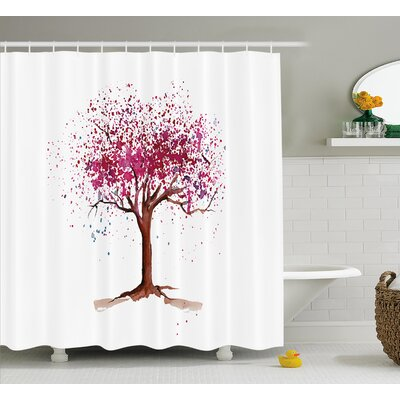 Sakura Tree Shower Curtain Size: 69 H x 84 W
