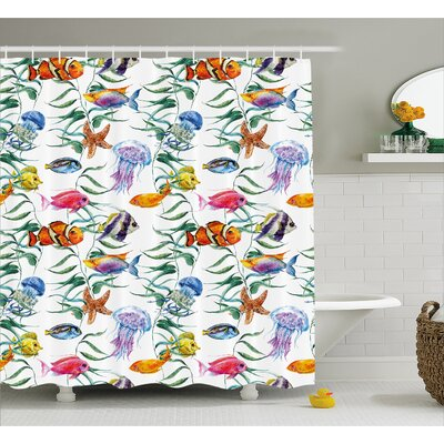 Kentshire Aquatic Saltwater Decor Shower Curtain Size: 69 H x 84 W