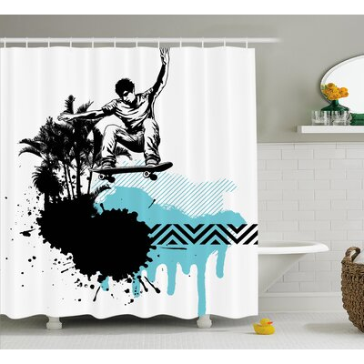 Boy Skater Shower Curtain Size: 69 H x 84 W
