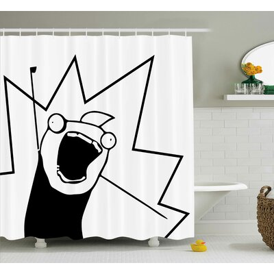 Cheerful Face Decor Shower Curtain Size: 69 H x 75 W