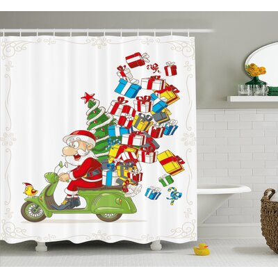 Christmas Santa on Motorbike Scooter Shower Curtain Size: 69 H x 70 W