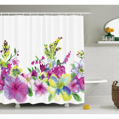 Hybrid Garden Floret Decor Shower Curtain Size: 69 H x 84 W