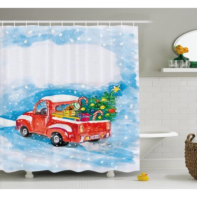 Christmas Truck Shower Curtain Size: 69 H x 70 W