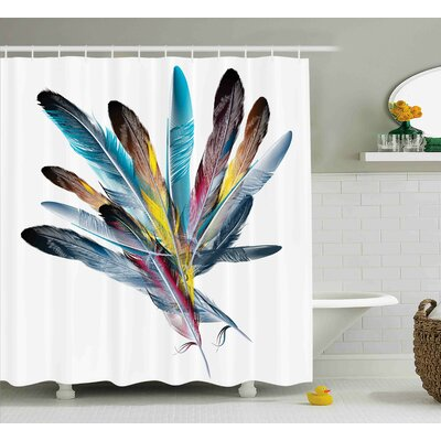 Feather  Decor Shower Curtain Size: 69 H x 75 W