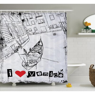 I Love Venice Decor Shower Curtain Size: 69 H x 84 W