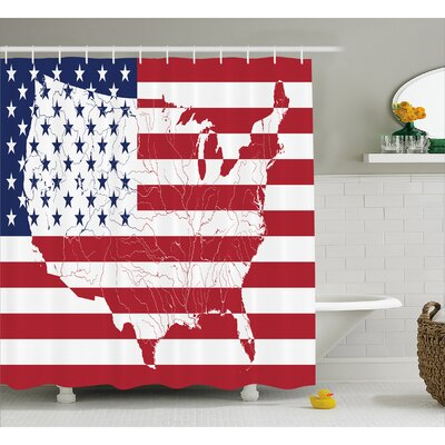 Stars and Stripes Decor Shower Curtain Size: 69 H x 70 W
