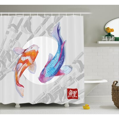 Couple Koi Fish Decor Shower Curtain Size: 69 H x 84 W