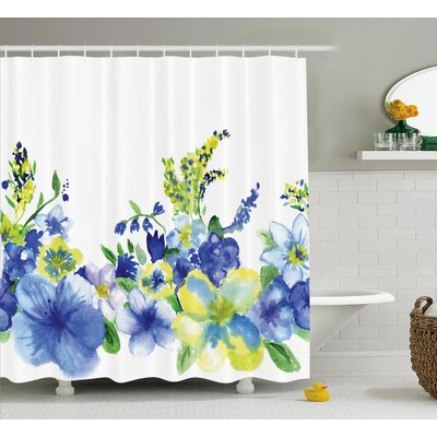 Swirled Brushstroke Herbs Decor Shower Curtain Size: 69 H x 75 W