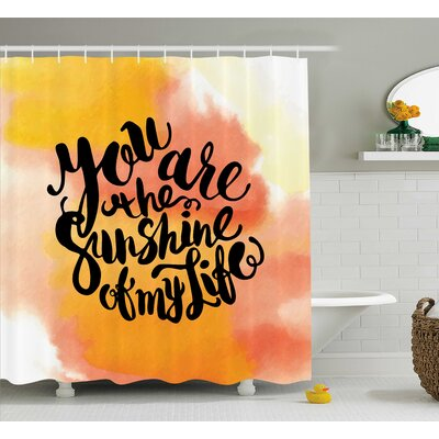 Hazy Cloud Quotes Decor Shower Curtain Size: 69 H x 70 W