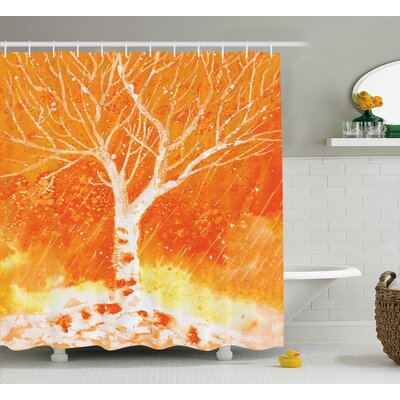 Fall Tree and Rain Drops Decor Shower Curtain Size: 69