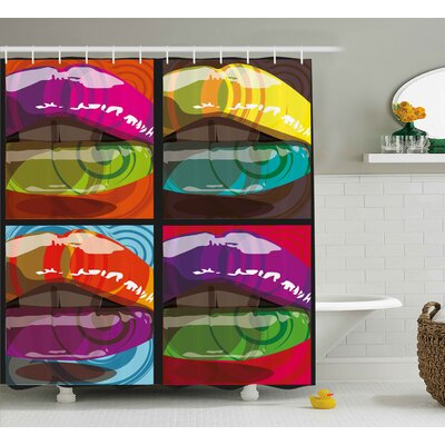 Sexy Big Lips Modern Decor Shower Curtain Size: 69 H x 70 W