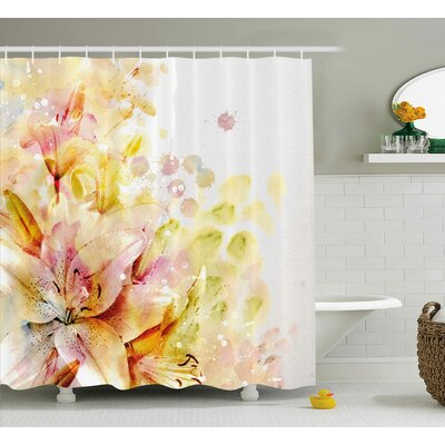 Lilies Flowers Buds Woven Shower Curtain Size: 69 H x 84 W