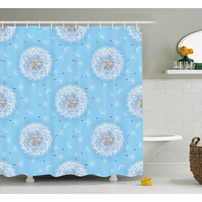 Dandelion Petals Shower Curtain Size: 69 H x 84 W