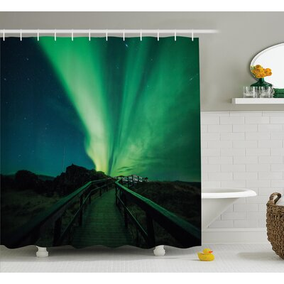 Wooden Bridge and Aurora Borealis Shower Curtain Size: 69 H x 84 W