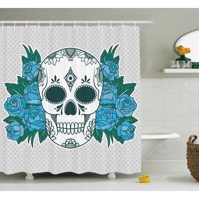 Skeleton Head with Oriental Paisley Shower Curtain Size: 69 H x 75 W