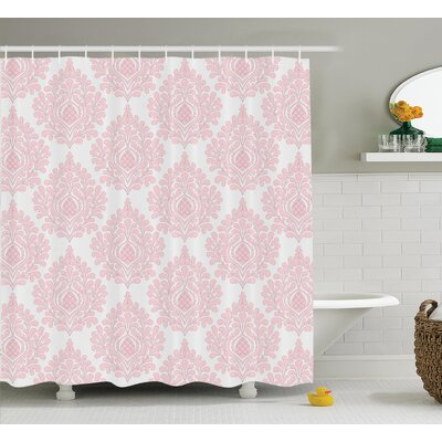 Baby Pink Floral Shower Curtain Size: 69 H x 84 W