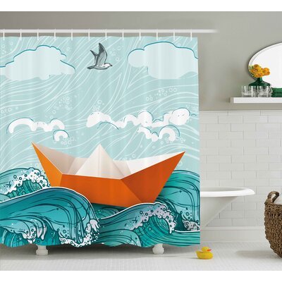 Paper Sail Ship Shower Curtain Size: 69 H x 75 W