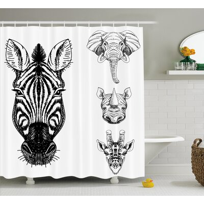 African Wildlife Shower Curtain Size: 69 H x 84 W