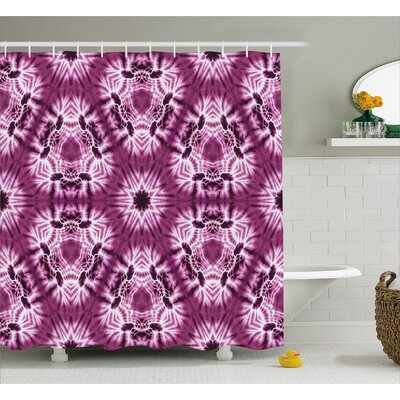 Oriental Trippy Motive with Morphing Spotted Decor Shower Curtain Size: 69 H x 84 W