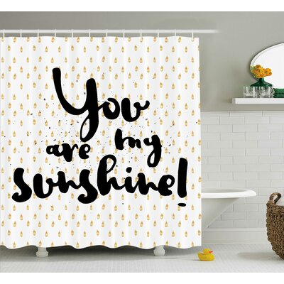 Dotted Background Quotes Decor Shower Curtain Size: 69 H x 75 W