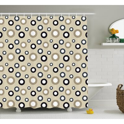 Disc Shaped Curve Figures Decor Shower Curtain Size: 69 H x 75 W