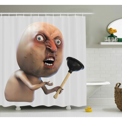 Long Face Angry Grumpy Decor Shower Curtain Size: 69 H x 70 W