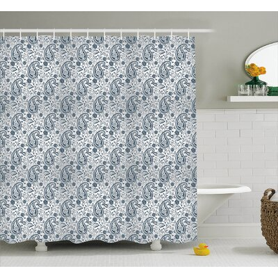 Flowers and Leaves Decor Shower Curtain Size: 69 H x 70 W