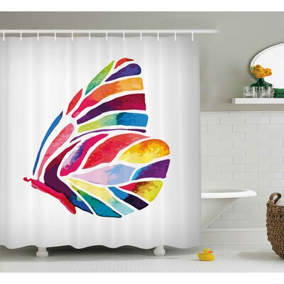 Butterfly Decor Shower Curtain Size: 69 H x 84 W