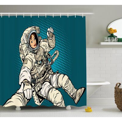 Woman Astronaut Hands Decor Shower Curtain Size: 69 H x 75 W