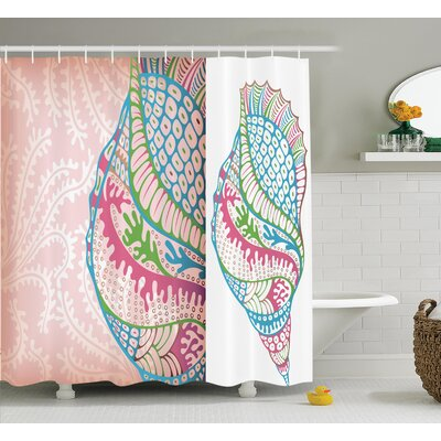 Colorful Seashells Shower Curtain Size: 69 H x 75 W