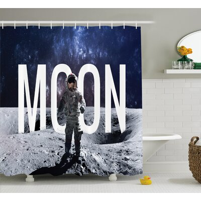 Moon Decor Shower Curtain Size: 69 H x 84 W
