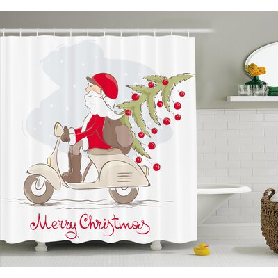 Christmas Santa on Motor Bike Shower Curtain Size: 69 H x 84 W