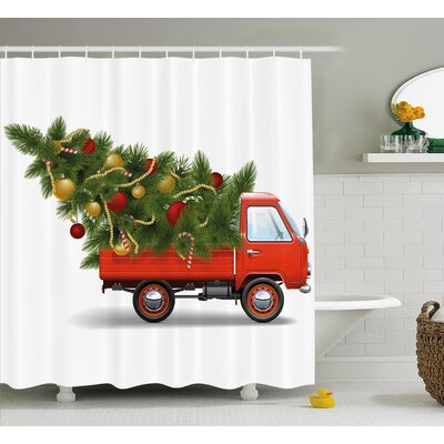 Christmas Truck and Big Tree Shower Curtain Size: 69 H x 75 W