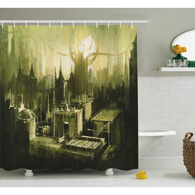Tailored Hem Decor Shower Curtain Size: 69 H x 75 W