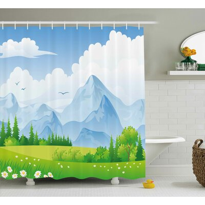 Daisy Flower Field Shower Curtain Size: 69 H x 75 W