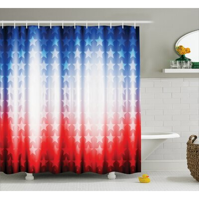Background with Stars Decor Shower Curtain Size: 69 H x 84 W