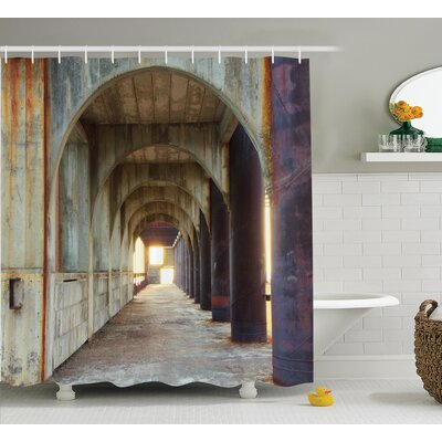 Corridor of Concrete Pillars Decor Shower Curtain Size: 69 H x 70 W