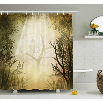 Forest Decor Woven Shower Curtain Size: 69 H x 70 W