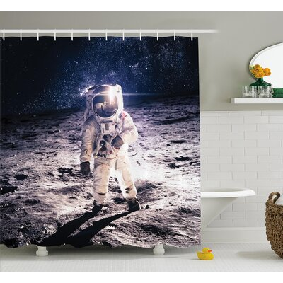 Moon Spaceman Decor Shower Curtain Size: 69 H x 84 W