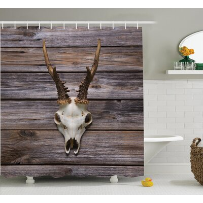 Antler on Wood Shower Curtain Size: 69 H x 70 W