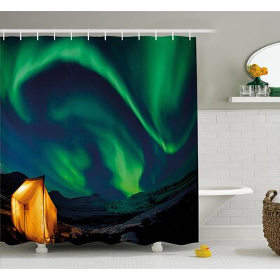 Nordic Camping Shower Curtain Size: 69 H x 70 W