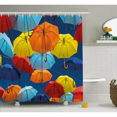 Umbrellas Colors the Sky Decor Shower Curtain Size: 69 H x 84 W