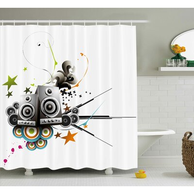 Music Set Modern Decor Shower Curtain Size: 69 H x 70 W