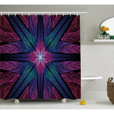 Symmetrical Glass Shower Curtain Size: 69 H x 84 W