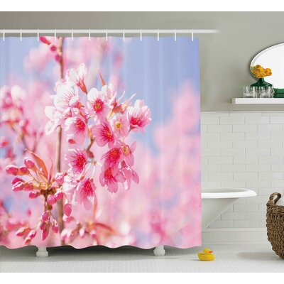 Sakura Blossom Shower Curtain Size: 69 H x 84 W