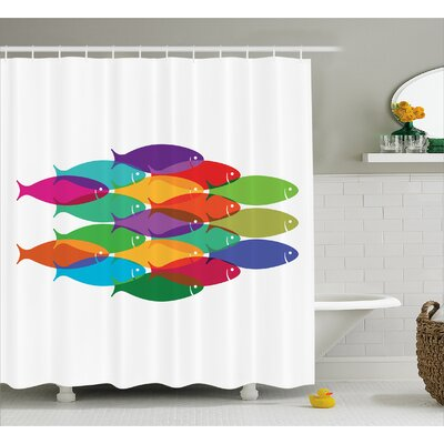 Nested Fish Decor Shower Curtain Size: 69 H x 75 W
