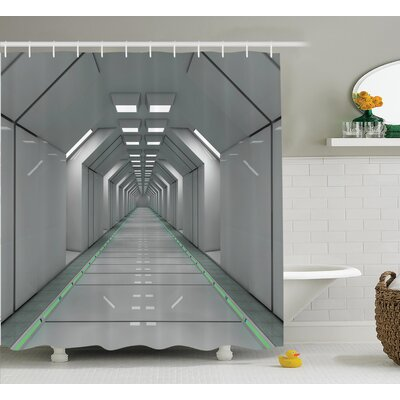 Corridor Space Station Decor Shower Curtain Size: 69 H x 84 W