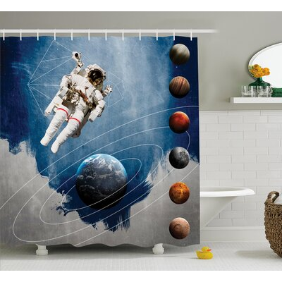 Planetary Circles Decor Shower Curtain Size: 69 H x 84 W