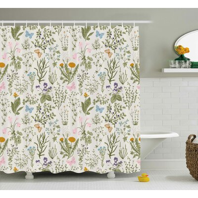 Menthe Herbs Flowers Shower Curtain Size: 69 H x 75 W